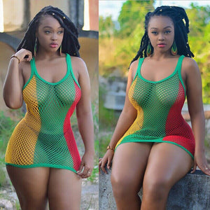 Rasta Women's Mesh Cover Up Dress