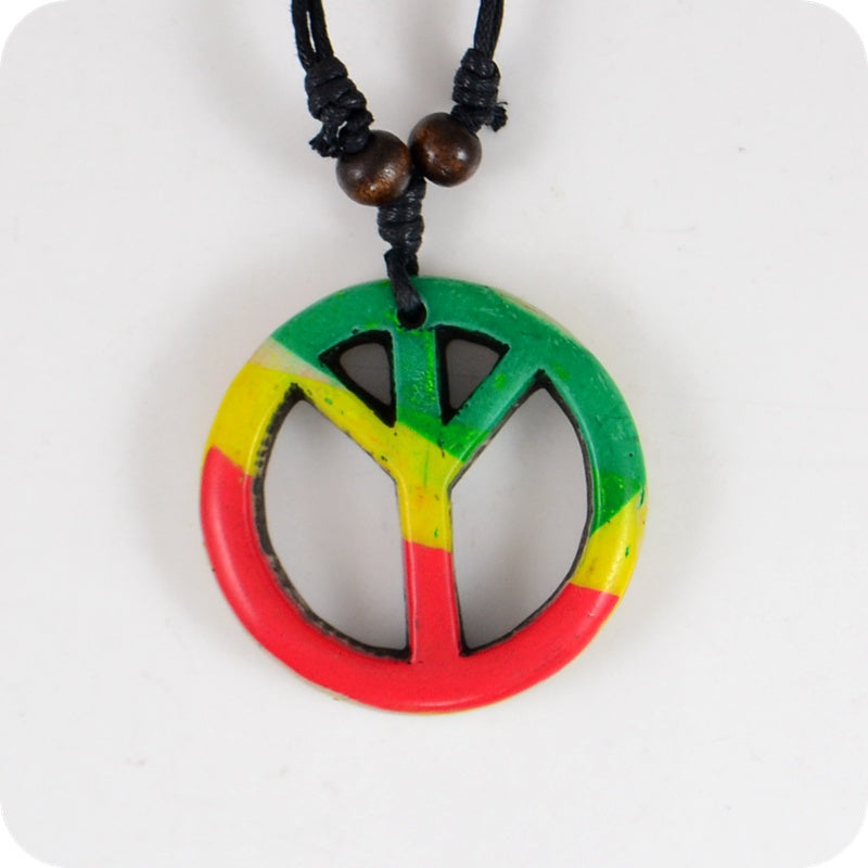 Rasta Peace Sign Pendant Necklace