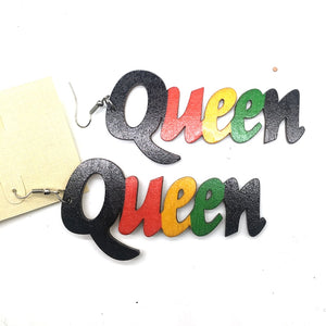 Rasta Queen Wooden Earrings