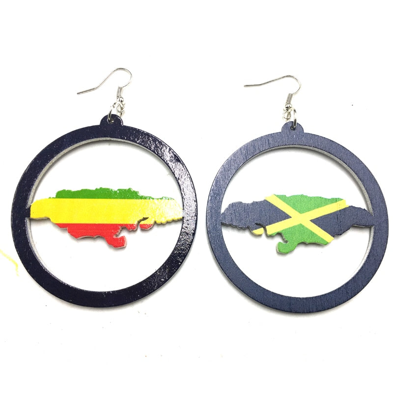 Jamaica Flag Map Wooden Earrings
