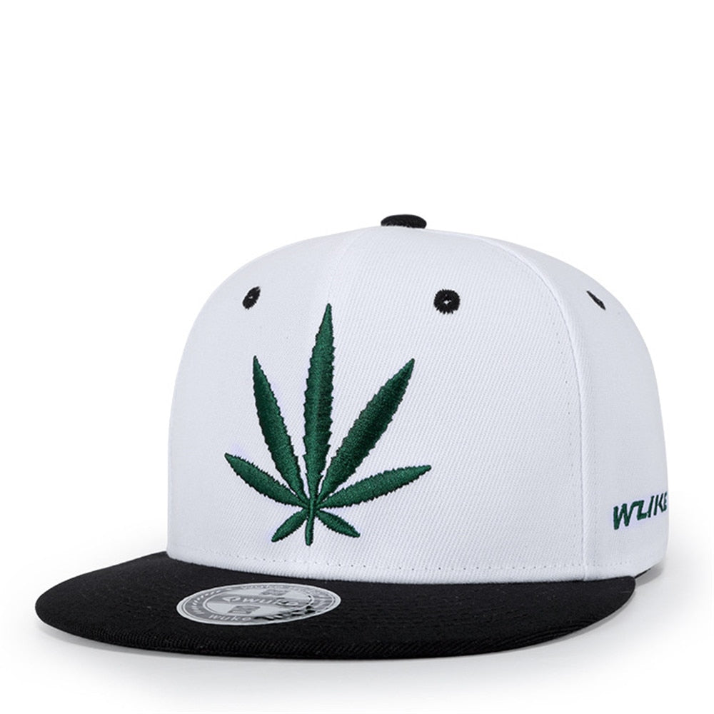 Weed Leaf Embroidery Snapback Caps (4 Variants)