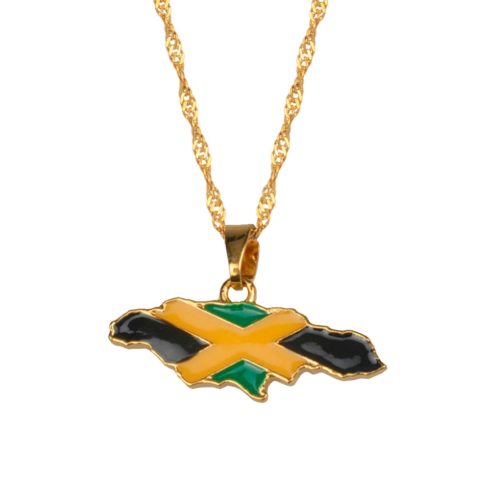 Jamaica Map Pendant Necklace