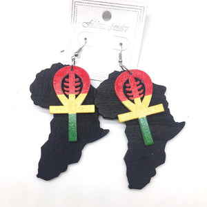 African Gye Nyame Wooden Earrings