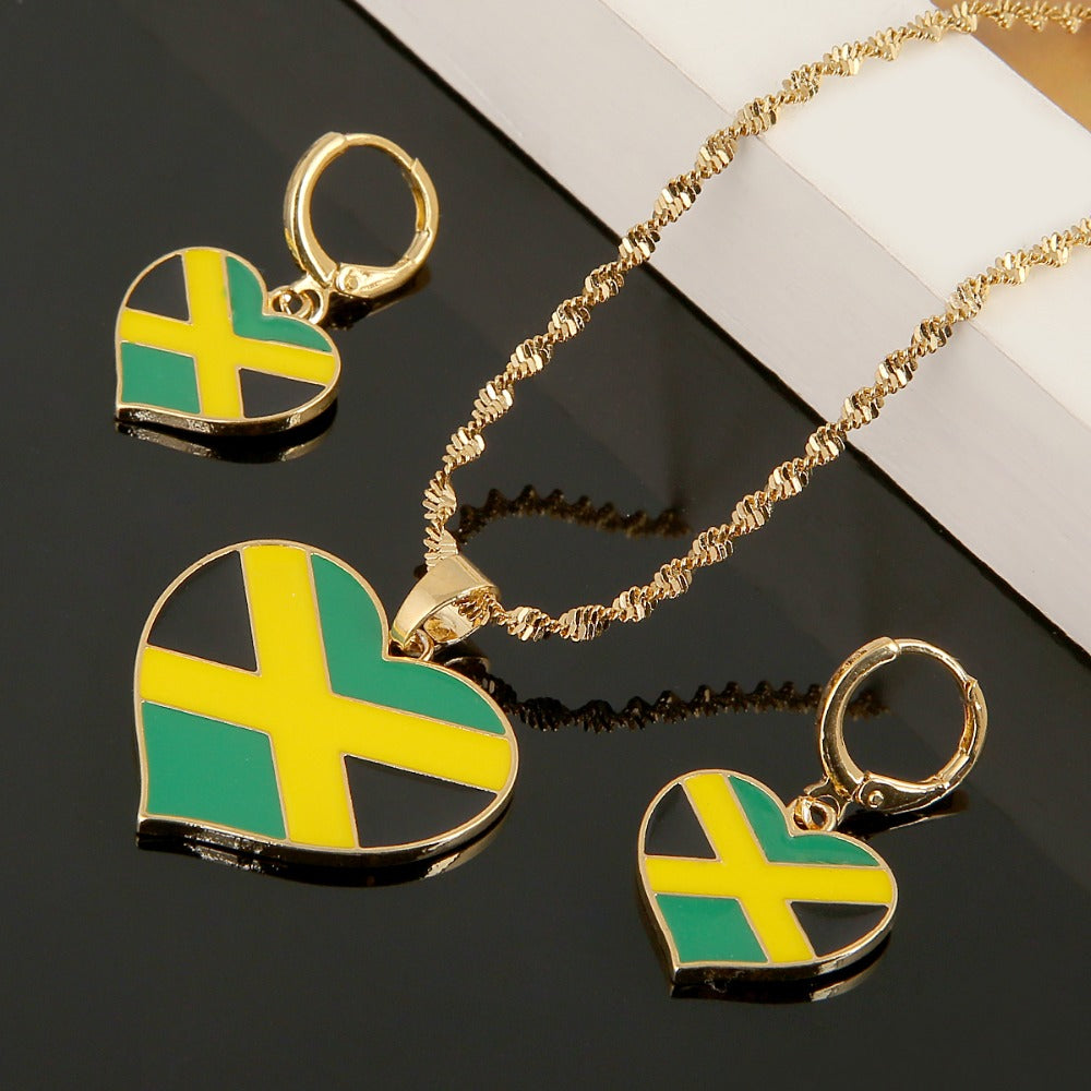 Jamaica Flag Heart Pendant Necklace And Earring Set