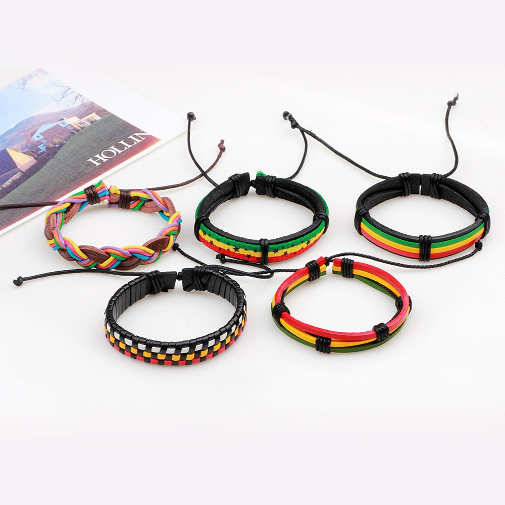 5pcs Rasta Leather Bracelet Set