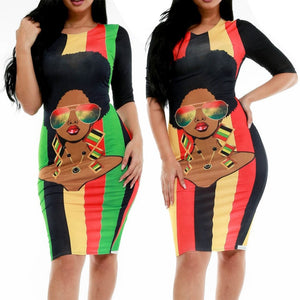 Afro Girl Bodycon Midi Dress