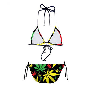 Rasta Color Hemp Leaves Bikini Set