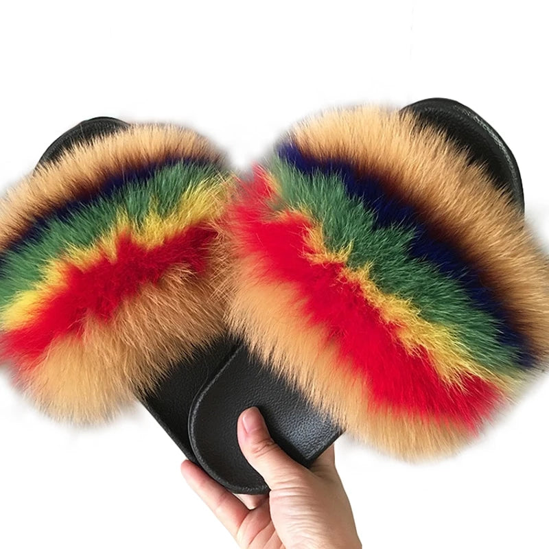 Women's Real Fox Fur Furry Slippers