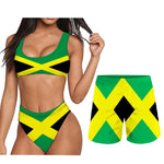 Jamaica Flag Couples Bikini and Shorts Set