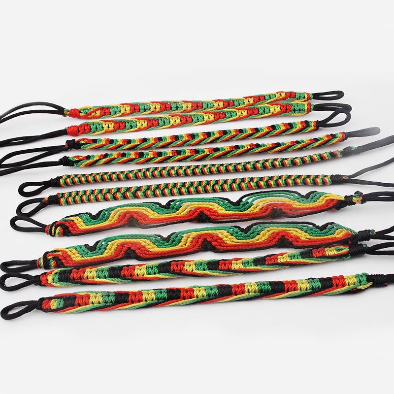 10pcs Mixed Rasta Bracelet Set