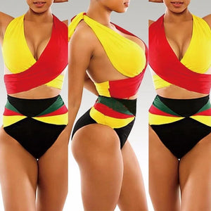 Rasta Patchwork High Waist Swimsuit