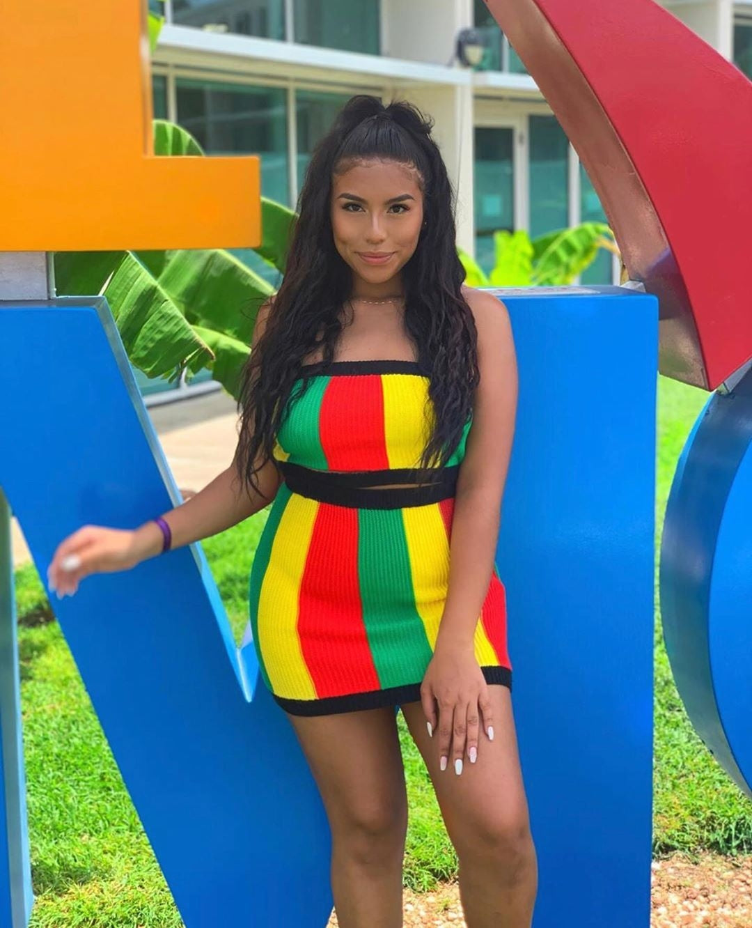 Rasta Off-Shoulder Top and Skirt Set