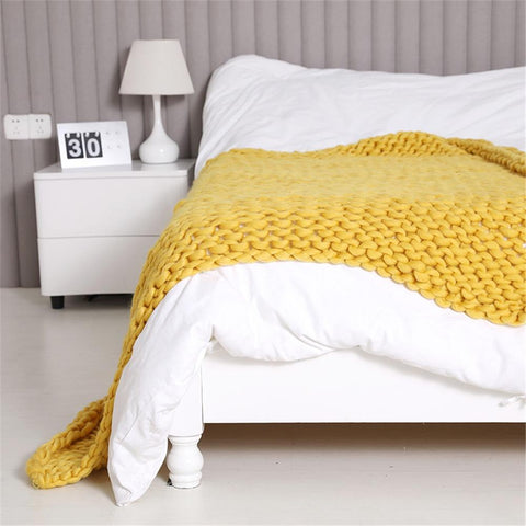 mustard cable knit blanket