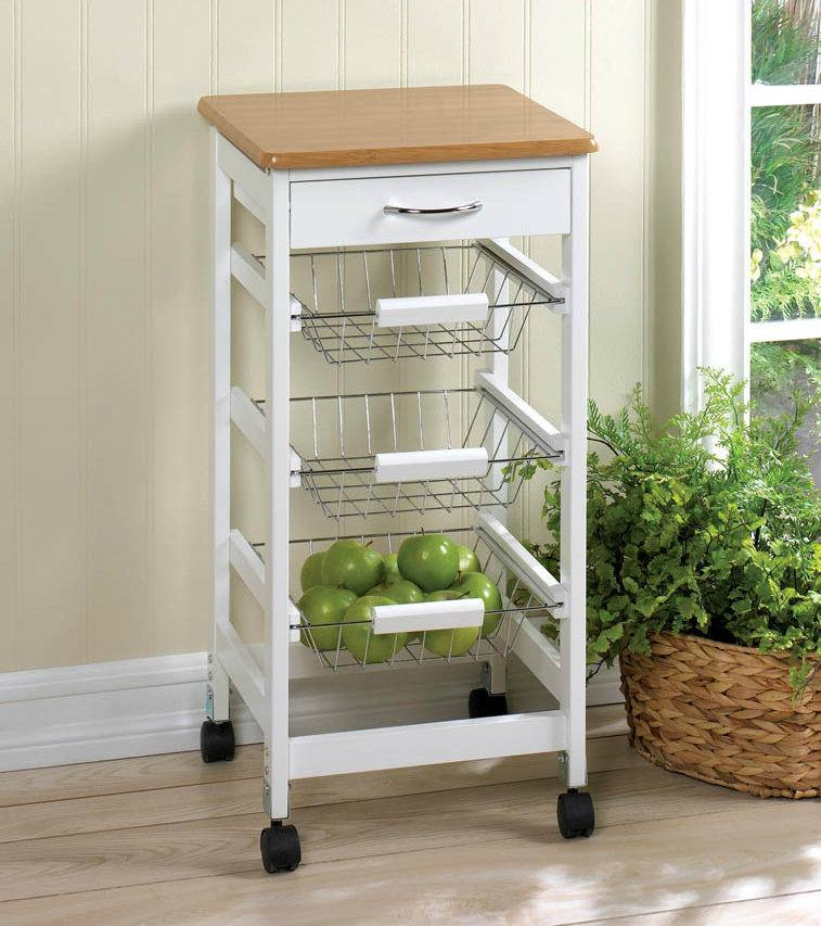 Wood-Top Kitchen Cart with Baskets