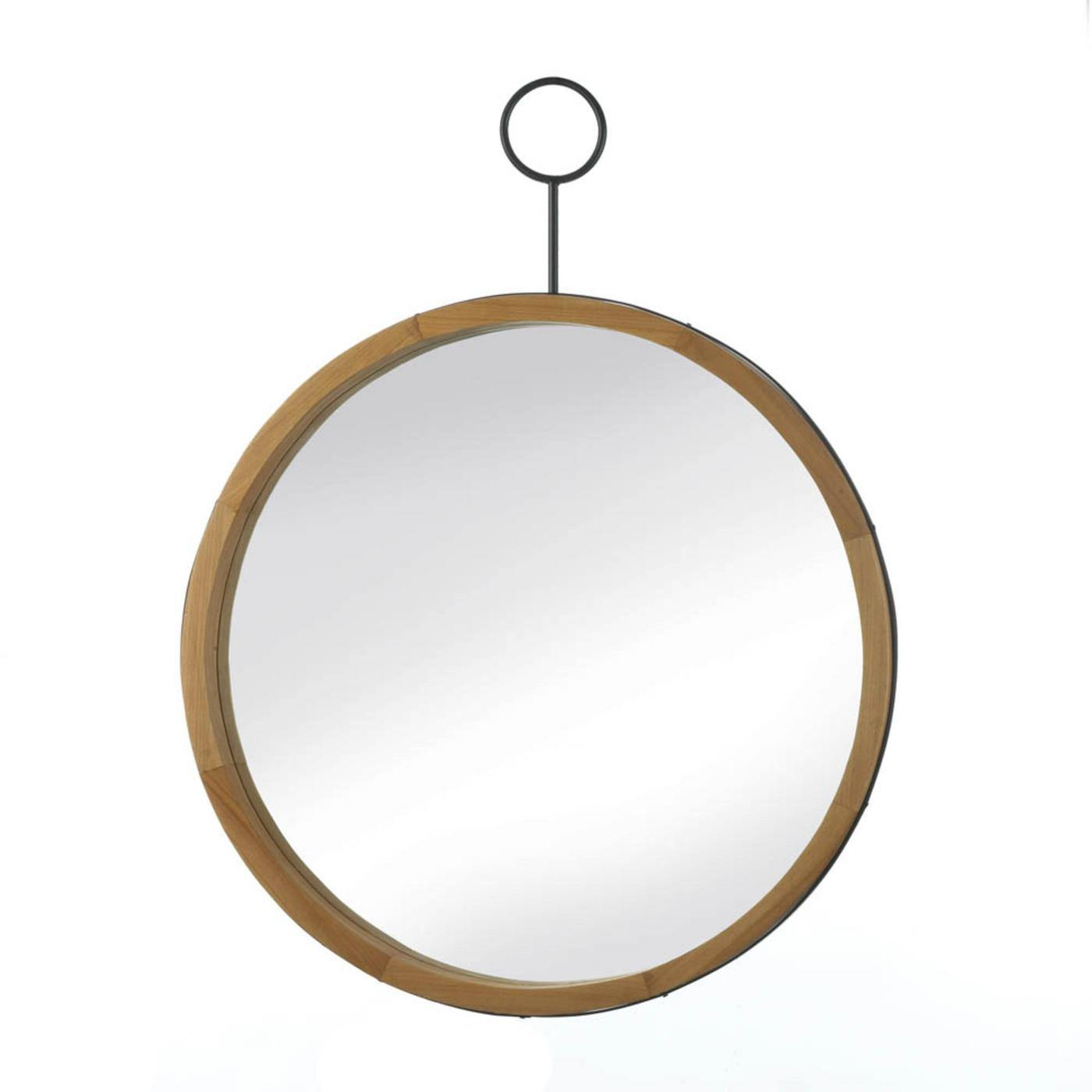 Eva Round Wood-Frame Mirror with Round Hook