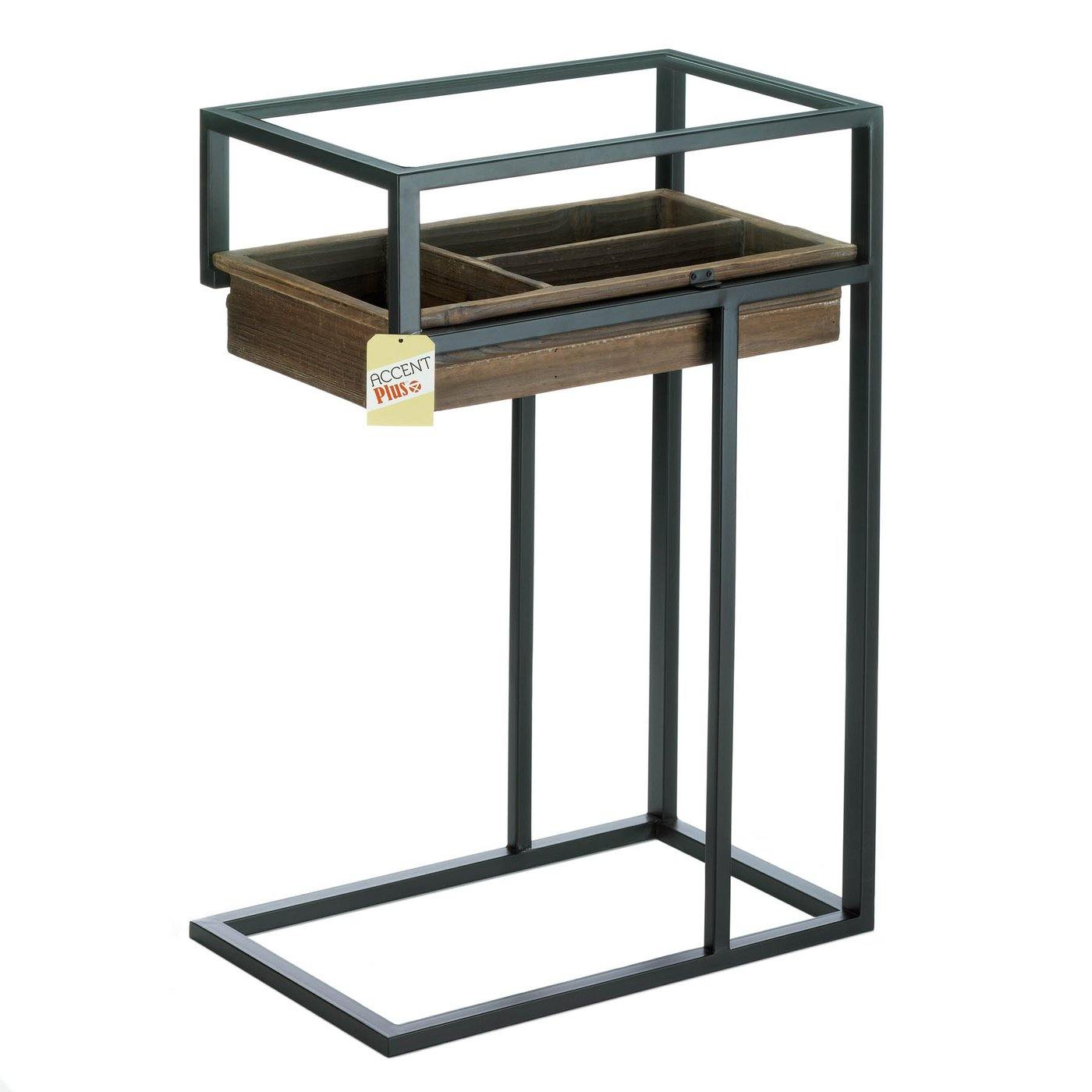 Glass-Top Industrial Side Table with Pull-Out Drawer