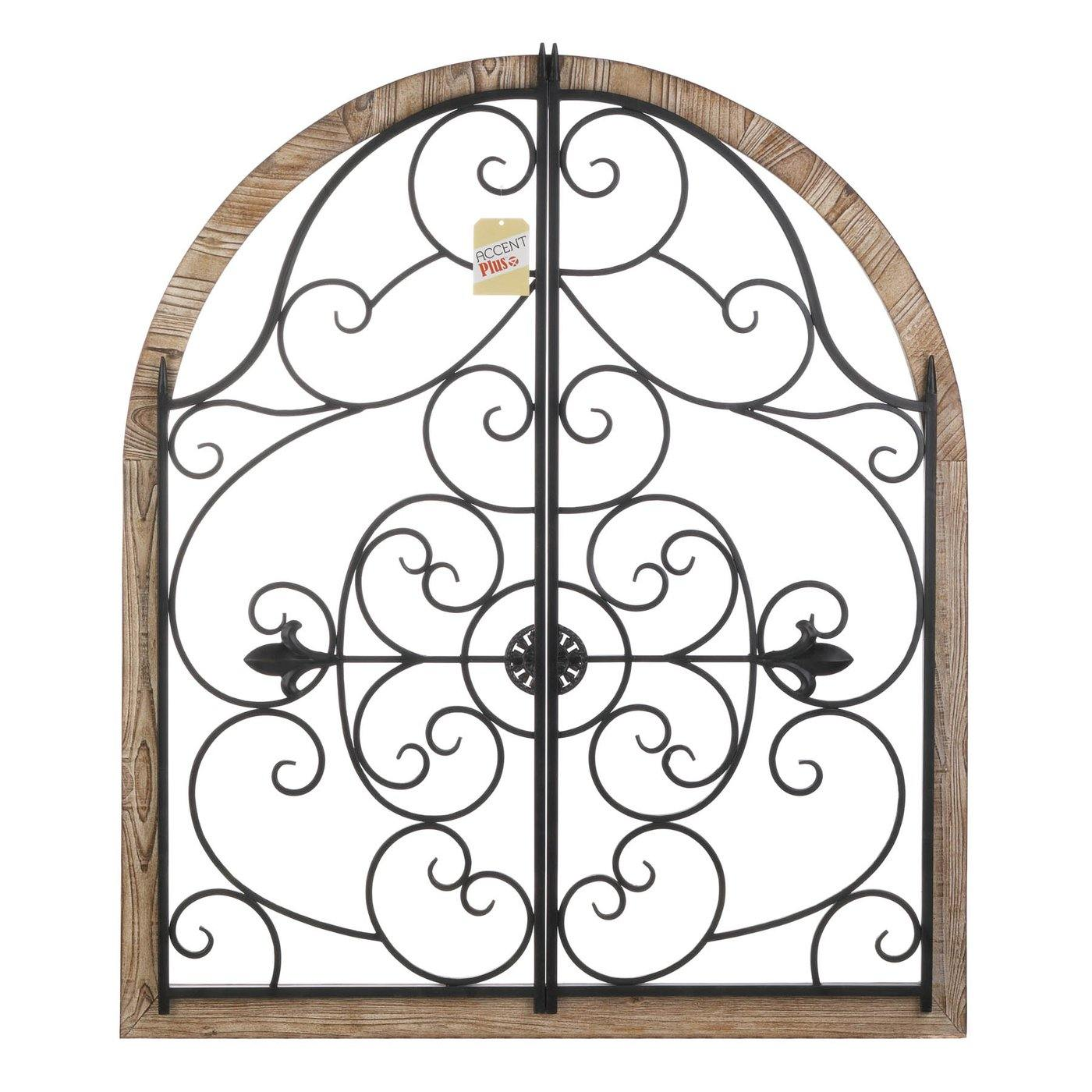 Arched Wood and Iron Swirls Wall Decor