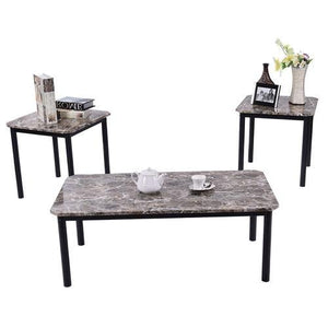 3-Piece Coffee Table and End Table Set with Faux Marble Top - Hop Decor