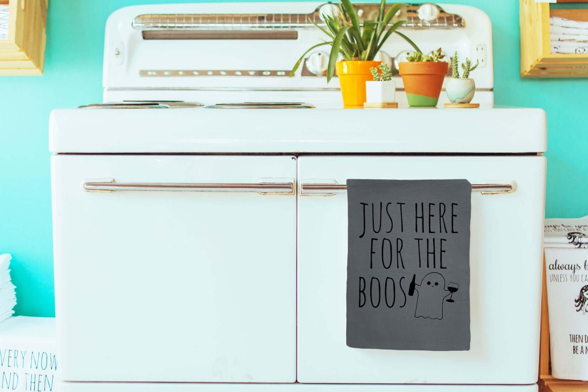 """Just Here For The Boos"" Dish Towel - White Or Gray"