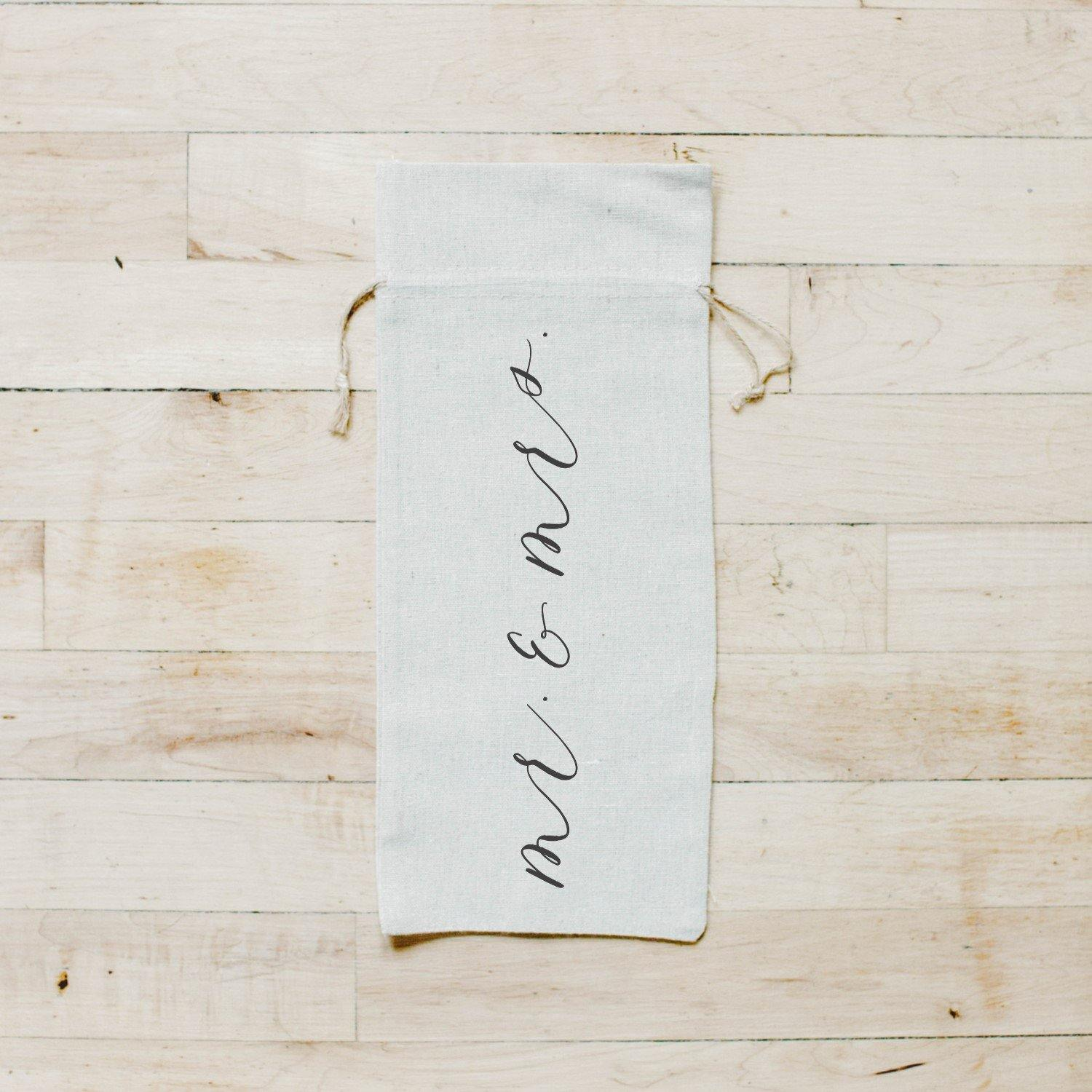 Mr. & Mrs. Calligraphy Wine Bag
