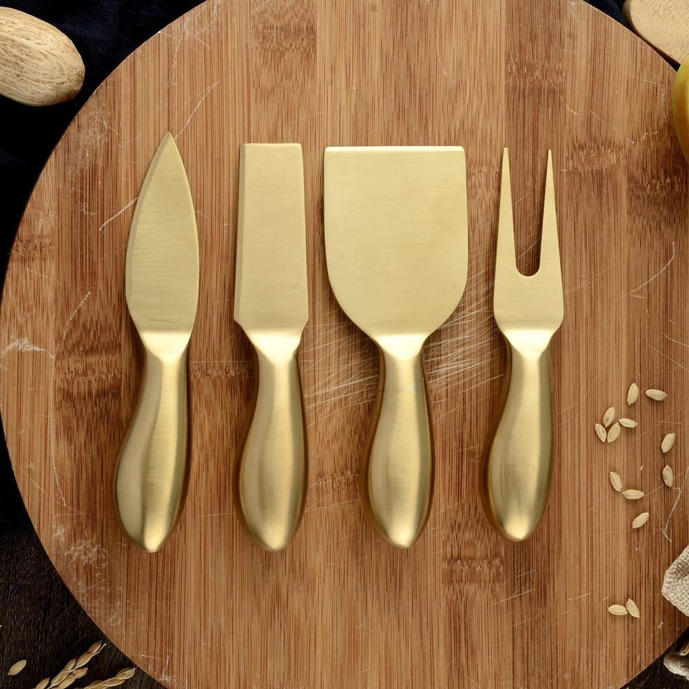 4pcs Gold Cheese Knife Set - Hop Decor