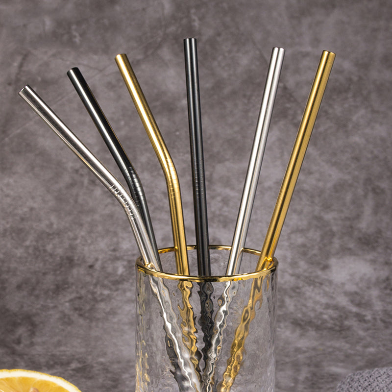 Stainless Steel Reusable Drinking Straws with Cleaning Brush - Hop Decor