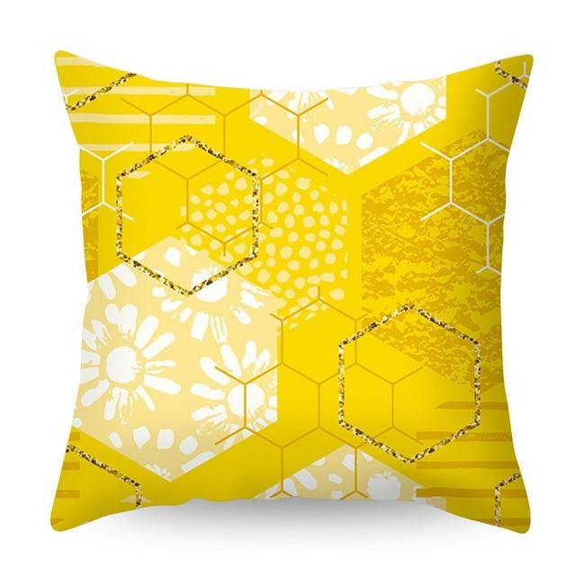 Busy Yellow Throw Pillow - Hop Decor