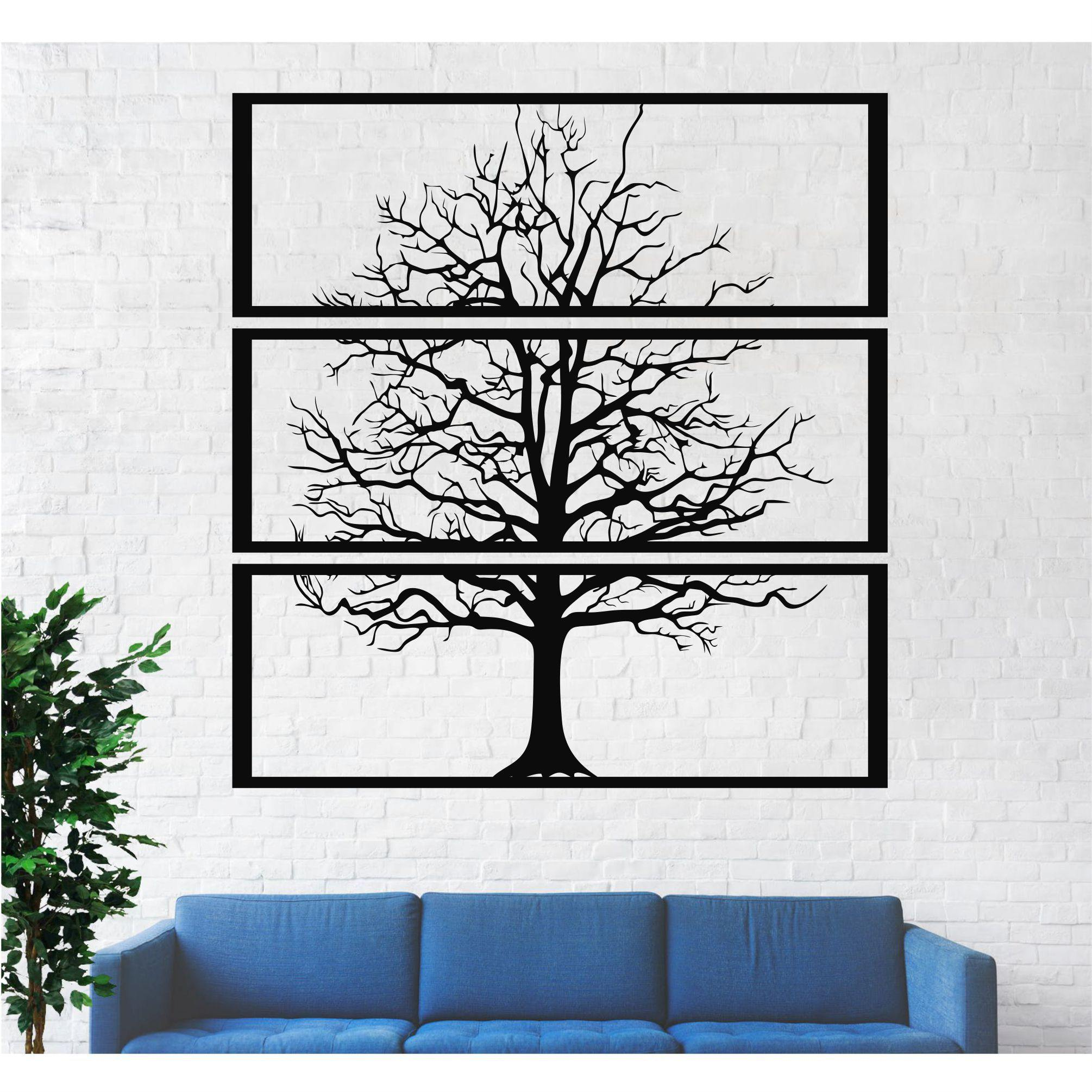 Metal Tree Wall Art - 3 Piece - Hop Decor