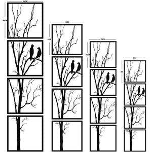 Birds on Branch - 4 Pieces Metal Wall Art