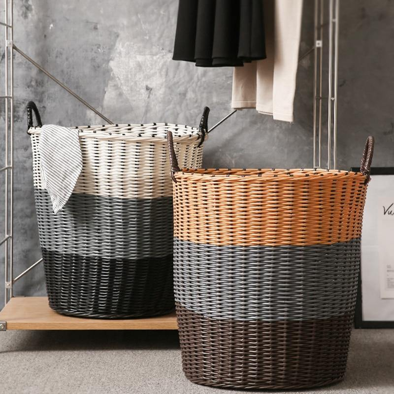 Color Block Rattan Laundry Basket - Hop Decor