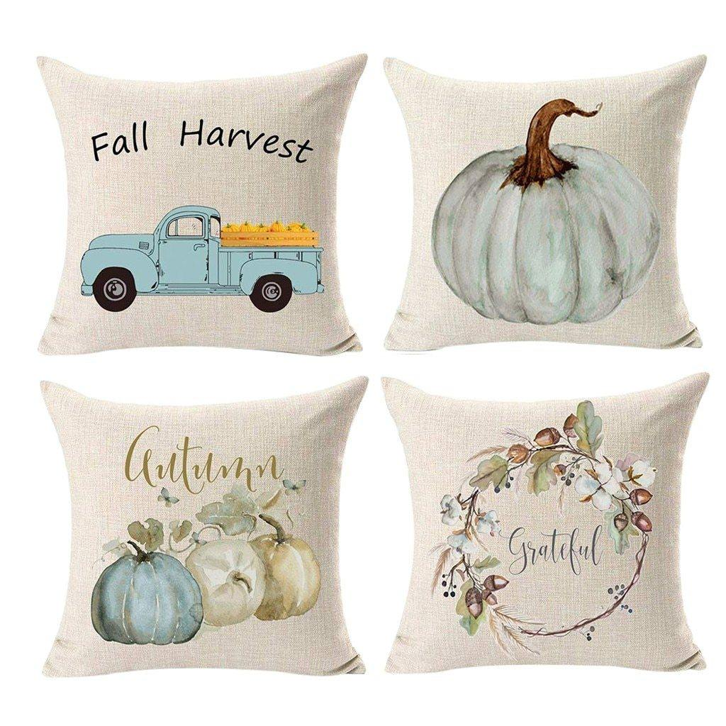 Blushing Blue Harvest Cushion Cover - 4 Piece - Hop Decor