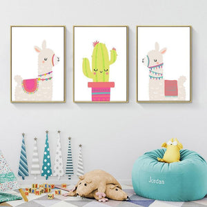Llama & Cactus Canvas - Hop Decor
