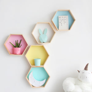 Hexagon Honeycomb Shelves - Hop Decor