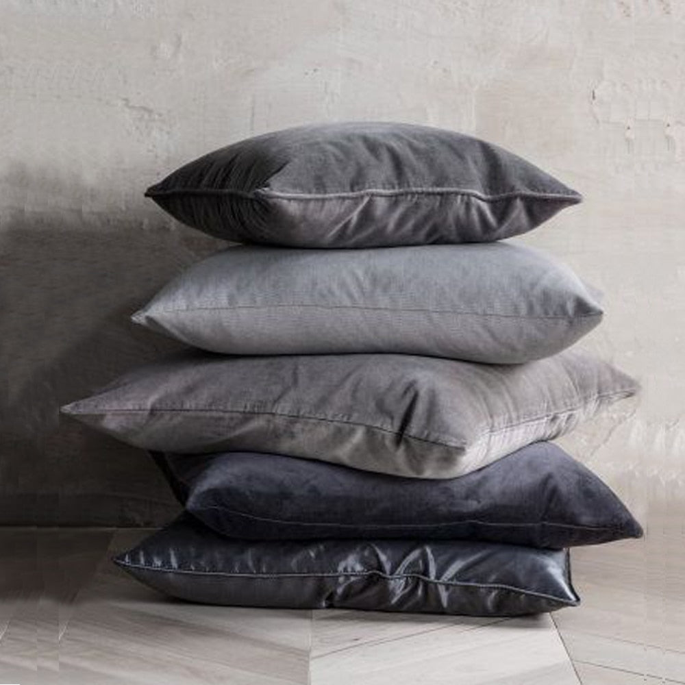 Luxury Grey Velvet Cushion Covers - Hop Decor