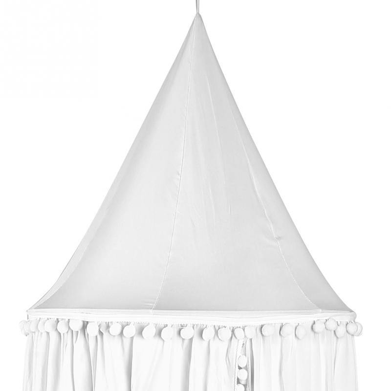 Cotton Bed Canopy with Pom-Pom Fringe - Hop Decor