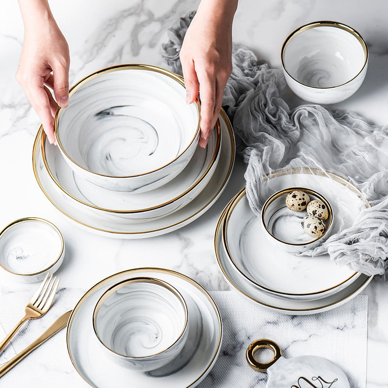 Marble & Gold Ceramic Dishes - Hop Decor