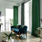 Forest Green Velvet Curtains - Hop Decor