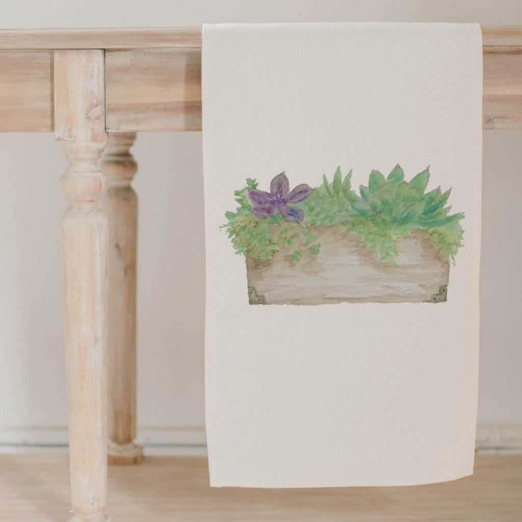 Succulent Box Watercolor Table Runner