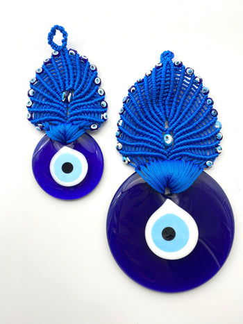 Evil Eye - Small or Large Blue Macrame