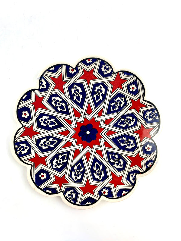 Trivet - Geometric Red & Blue