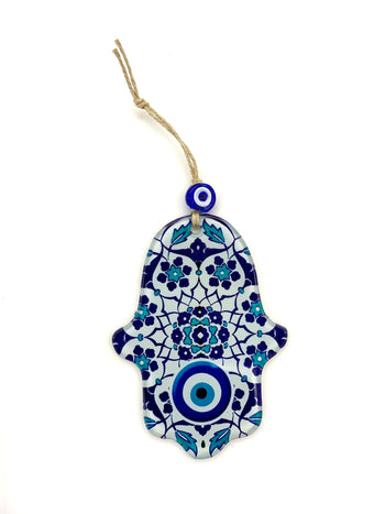 Glass Hamsa with Evil Eye