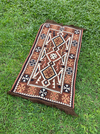 Small Turkish Kilim / Rug - red, brown, maroon
