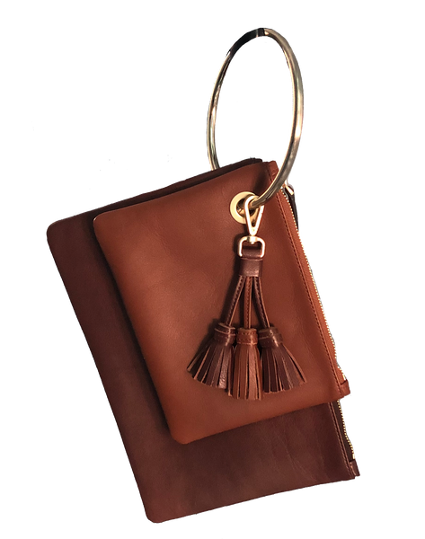 NINU Twin Clutch brown/cognac