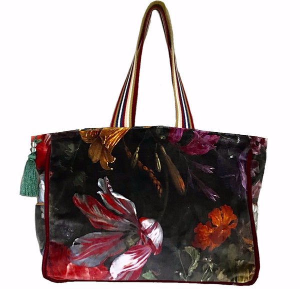 Velvet Flower Tote L with pouch