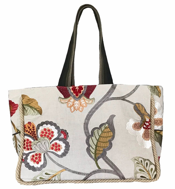Red Flower Linen Tote L with pouch