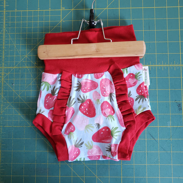 Strawberry Ruffle Bummies - size 2T RTS