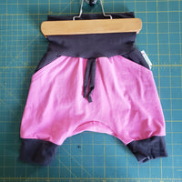Pink and Charcoal Harem shorts - size 3-12 months RTS