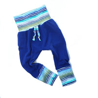 ORGANIC Blue striped baby harem pants, grow with me cloth diaper pants