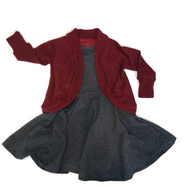 Twirly Girls Dress with Cardigan