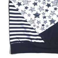 Black and white Monochrome Stars and Stripes Hoodie Tank